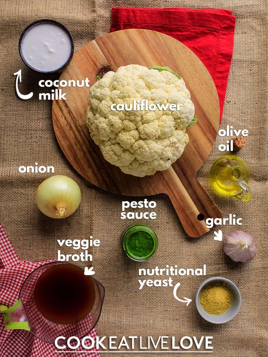 Ingredients needed to prepare vegan alfredo sauce