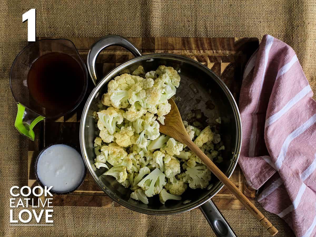Cauliflower added to plan to make vegan alfredo sauce.
