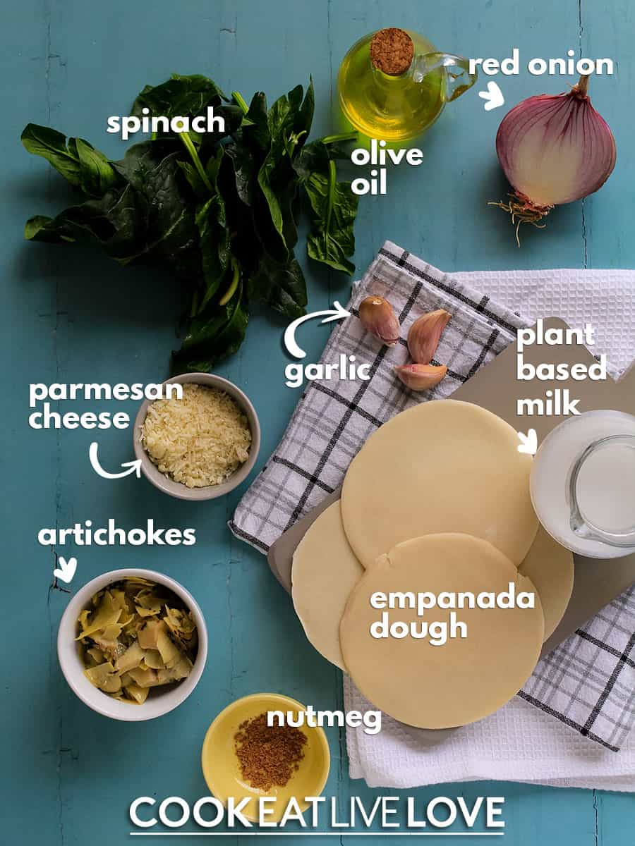 Ingredients to make spinach filling empanadas before cooking.