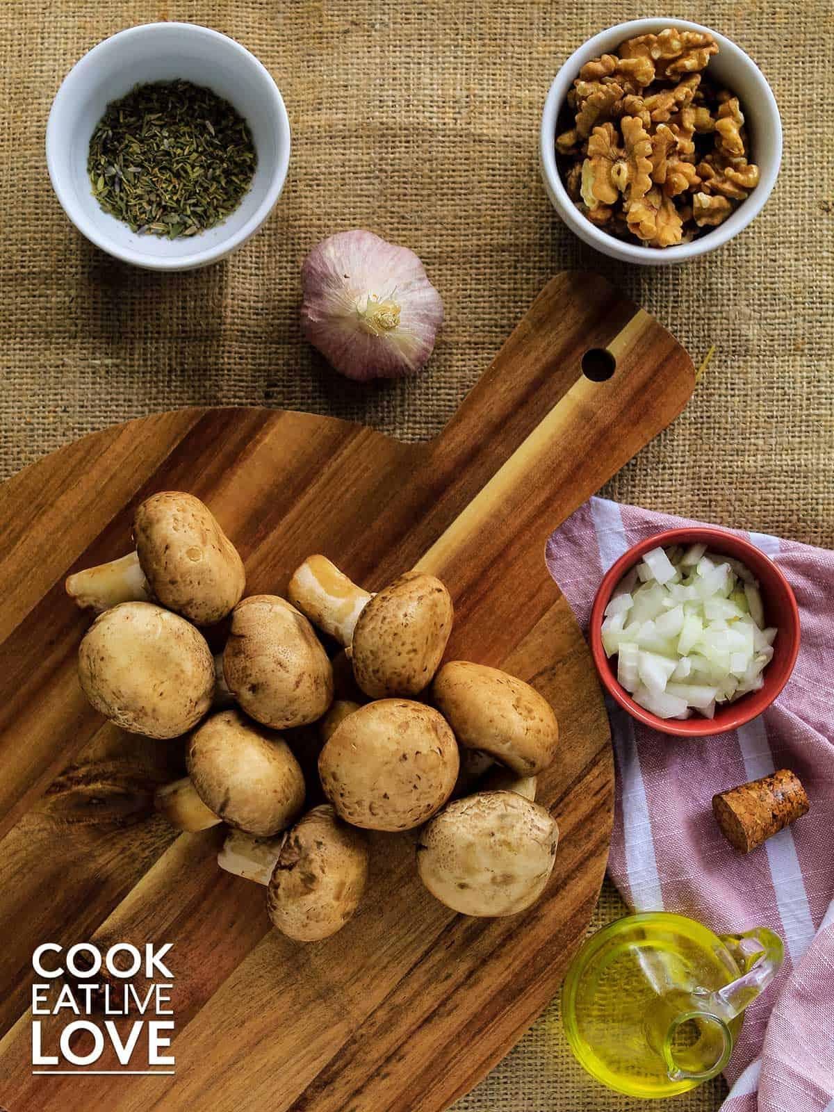 Ingredients to make mushroom vegetarian ravioli filling.