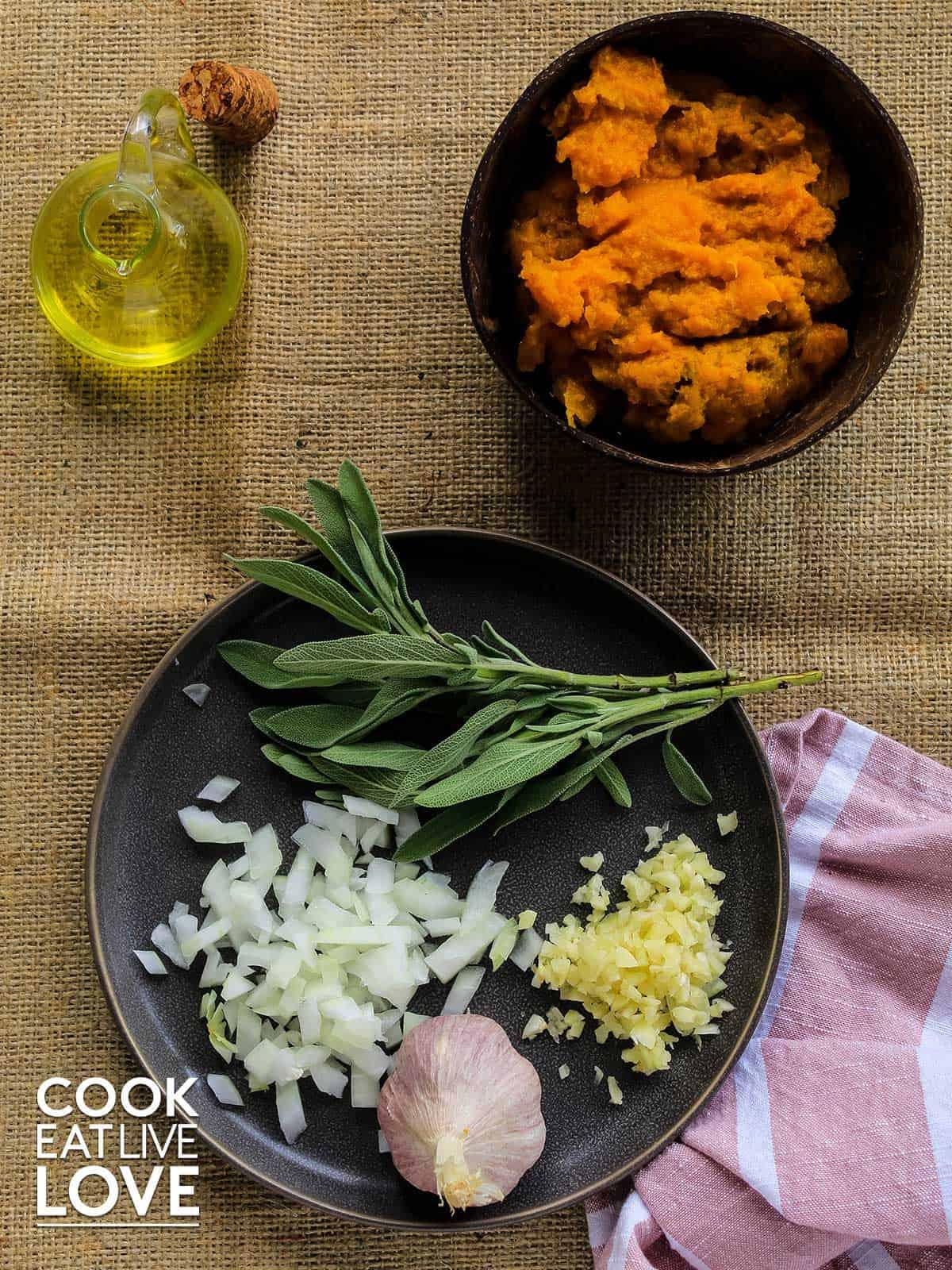 Ingredients to make the pumpkin vegetarian ravioli filling.