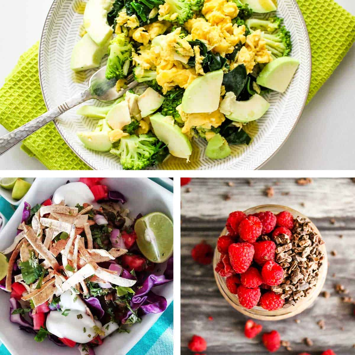 Graphic with three photos of food on plate