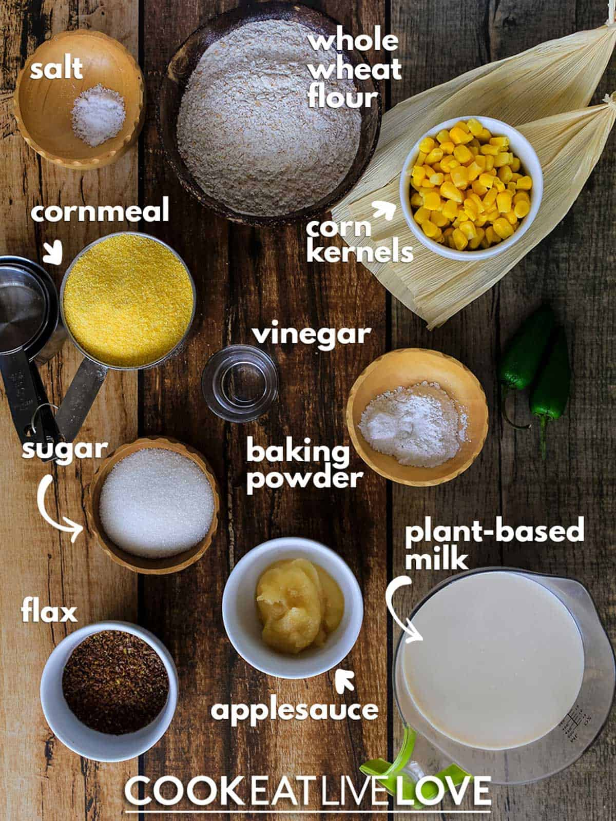 Overhead view of ingredients with labels to make this cornbread recipe.