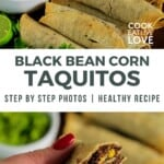 Pin for pinterest for taquitos with image and text