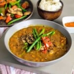 Bowl of vegetable japanese curry on a table