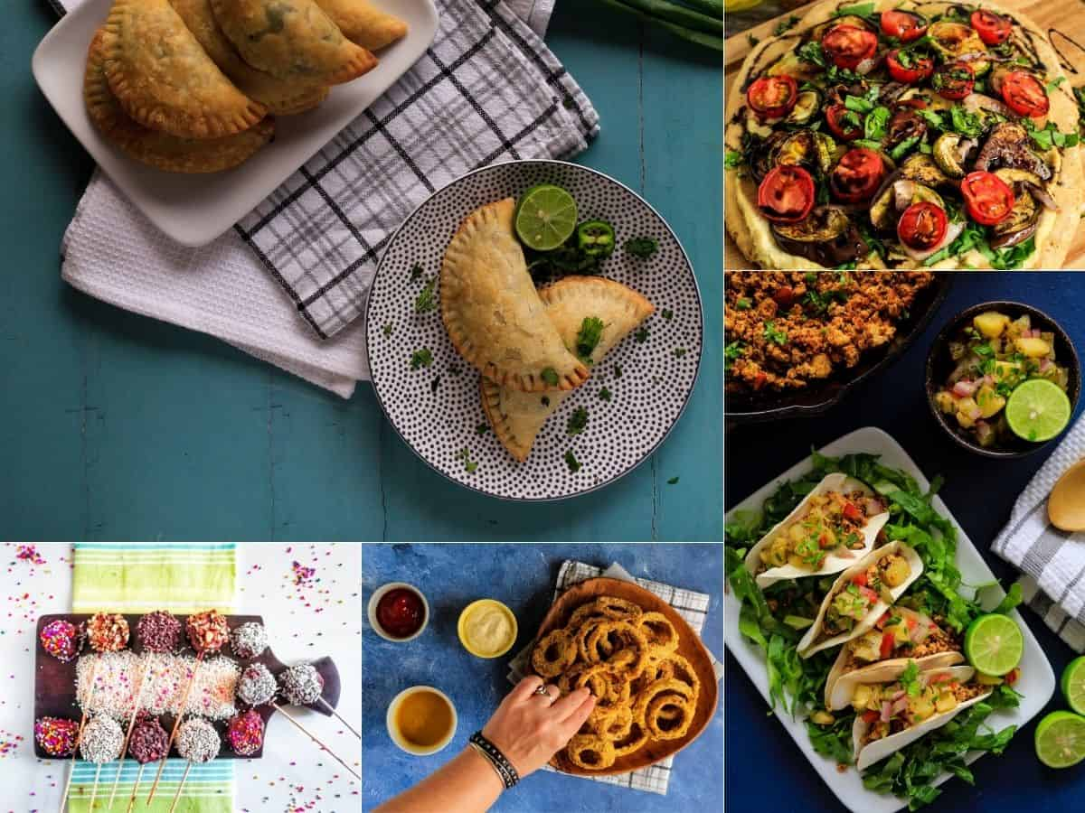 Collage of food photos from recipes in vegetarian snack recipes collection