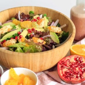 Salad in a bowl on a table