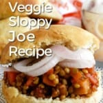 Front view of sloppy joe on a plate