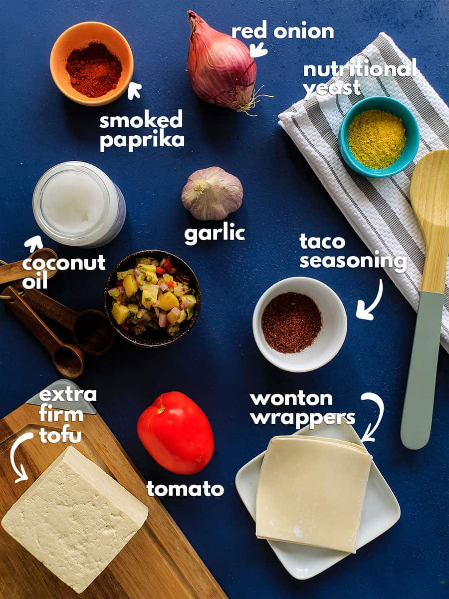 Overhead view of ingredients to make wonton tacos.