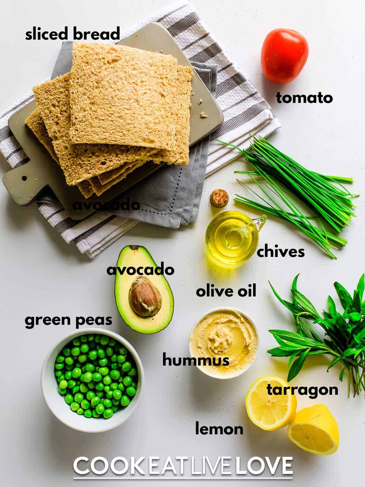 Ingredients for triple decker sandwich on table with text labels