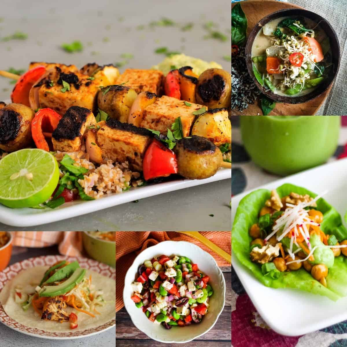 Spicy vegetarian recipes photo collage