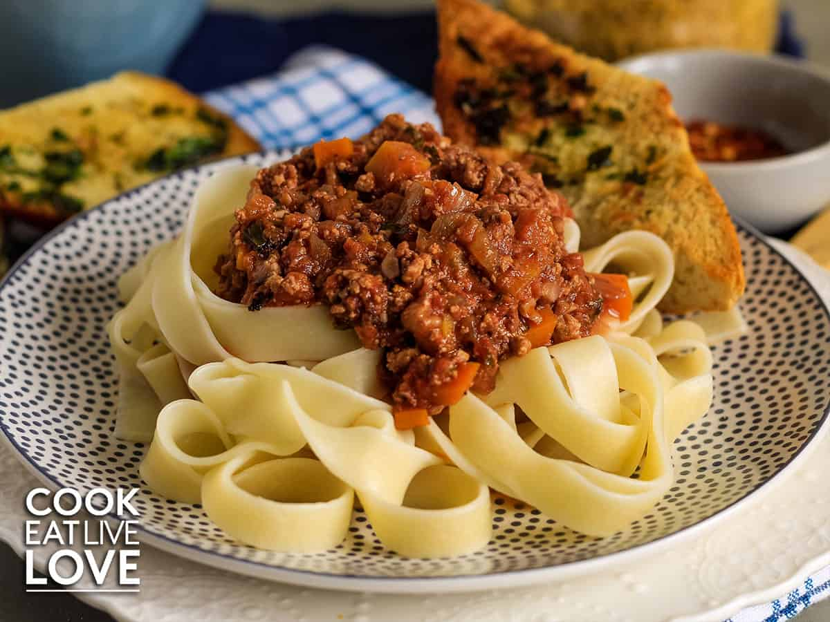 Plate of noodles with tofu bolognese sauce