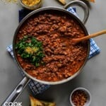 Skillet of tofu bolognese sauce on table