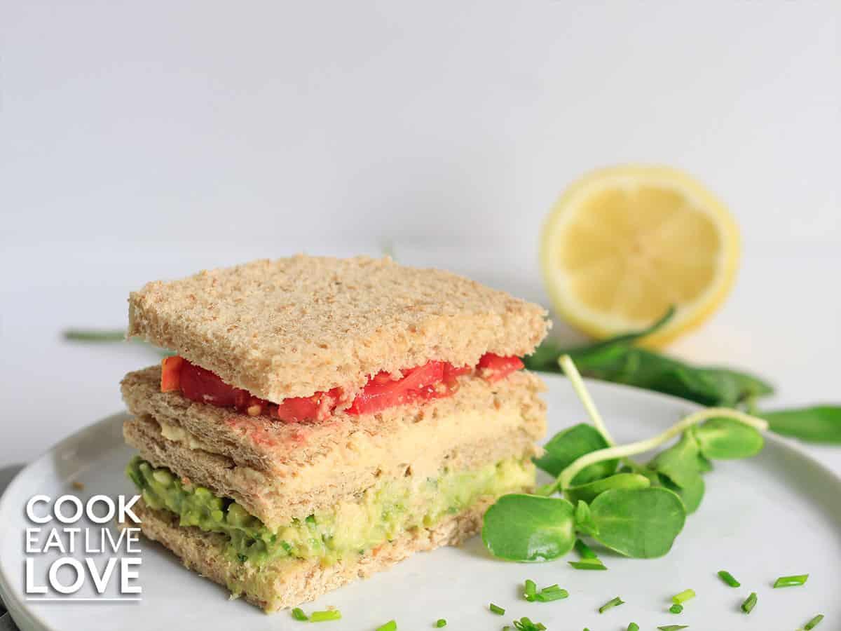 Triple decker sandwich on a plate