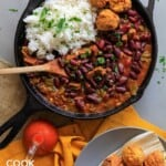 Red beans and rice in a skillet on a table