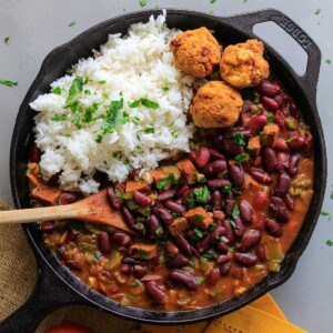 Overhead view of skillet of red beans and rice on table