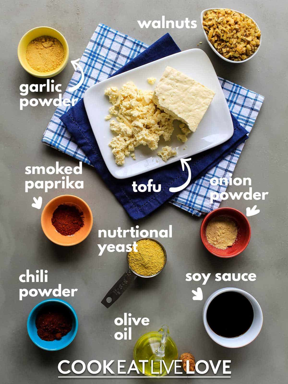 ingredients to make tofu walnut crumbles for bolognese sauce