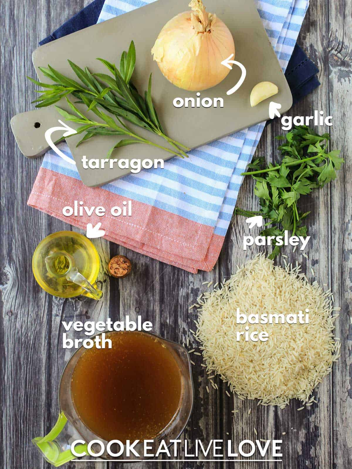 Ingredients to make basmati rice on counter with text labels