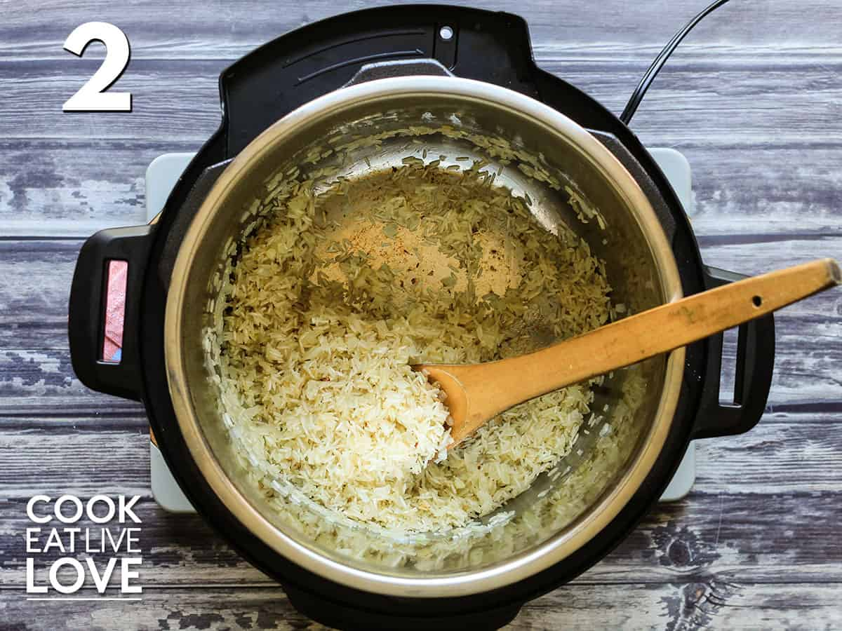 Toasting the basmati rice in the instant pot