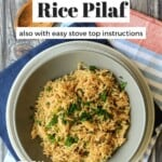 Pin for pinterest graphic of rice in bowl with text