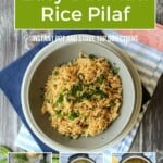 Pin for pinterest graphic with images of basmati rice with text
