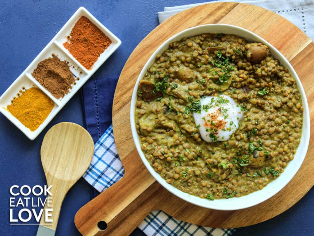 Lentil curry in a bowl on the table