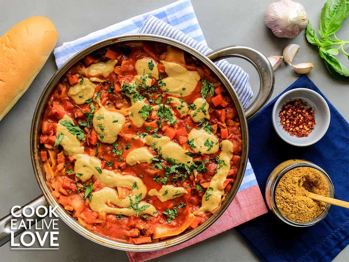 Vegan lasagna in skillet on a table
