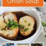 Pin for pinterest graphic with multiple images of soup and text