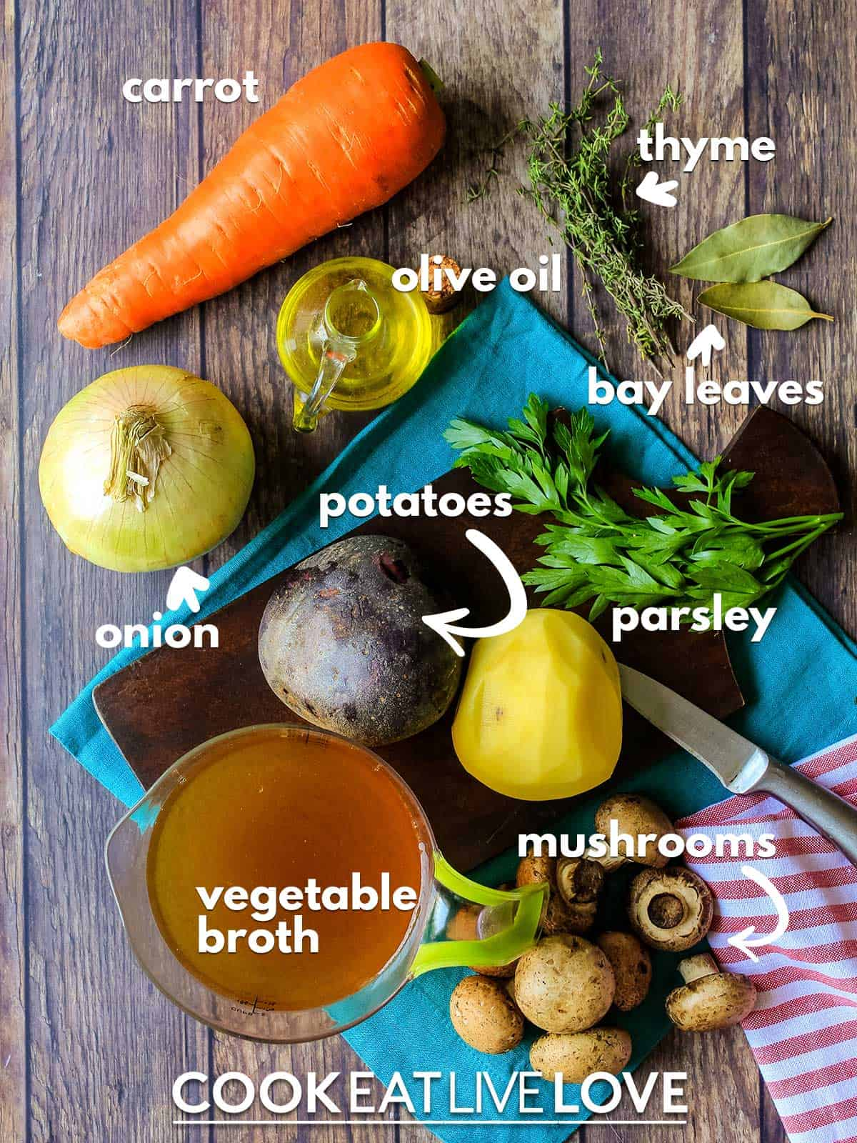 Ingredients to make vegan Irish stew on a table with text labels