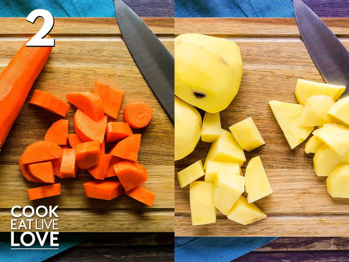Chopped carrots and potatoes on cutting board