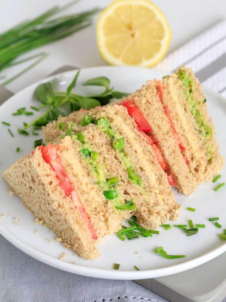 Easy vegan sandwich on a plate