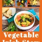 Pin for pinterest graphic for vegan irish stew with multiple photos and text