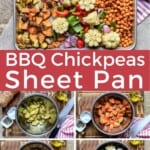 Pin for pinterest graphic with multiple images of chickpea recipe and text