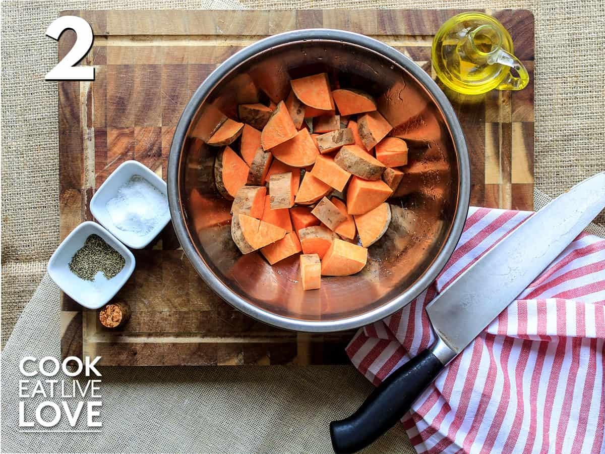 Cut sweet potatoes in a bowl on the counter