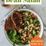 Pin for pinterest graphic with image of bean salad and text
