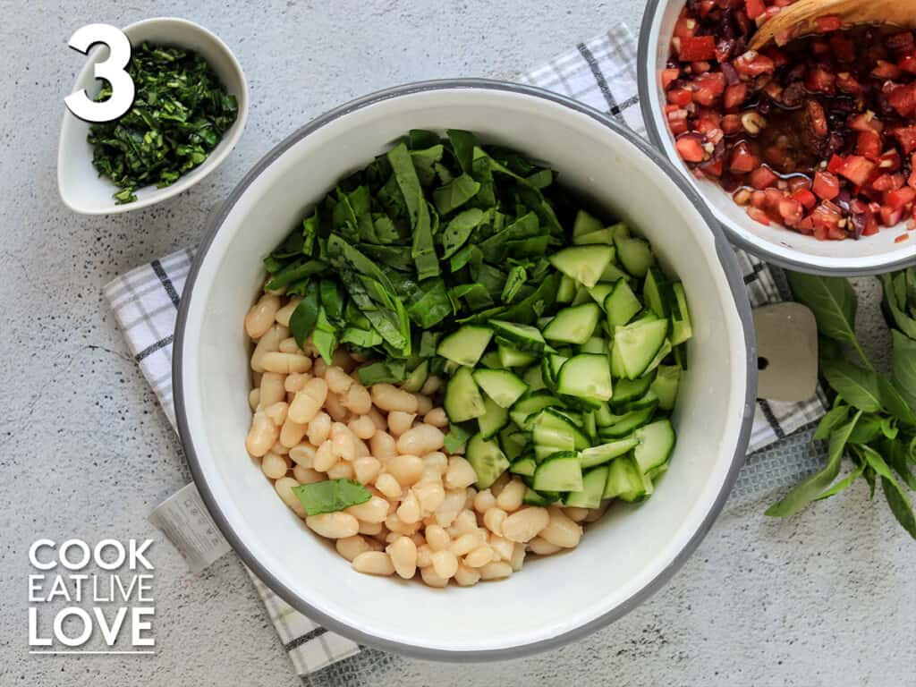Beans and chopped veggies in a bowl