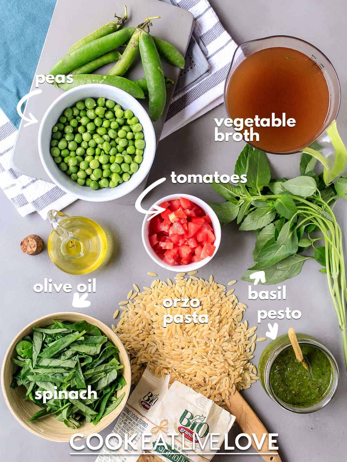 Ingredients to make orzo pesto on the table with text labels