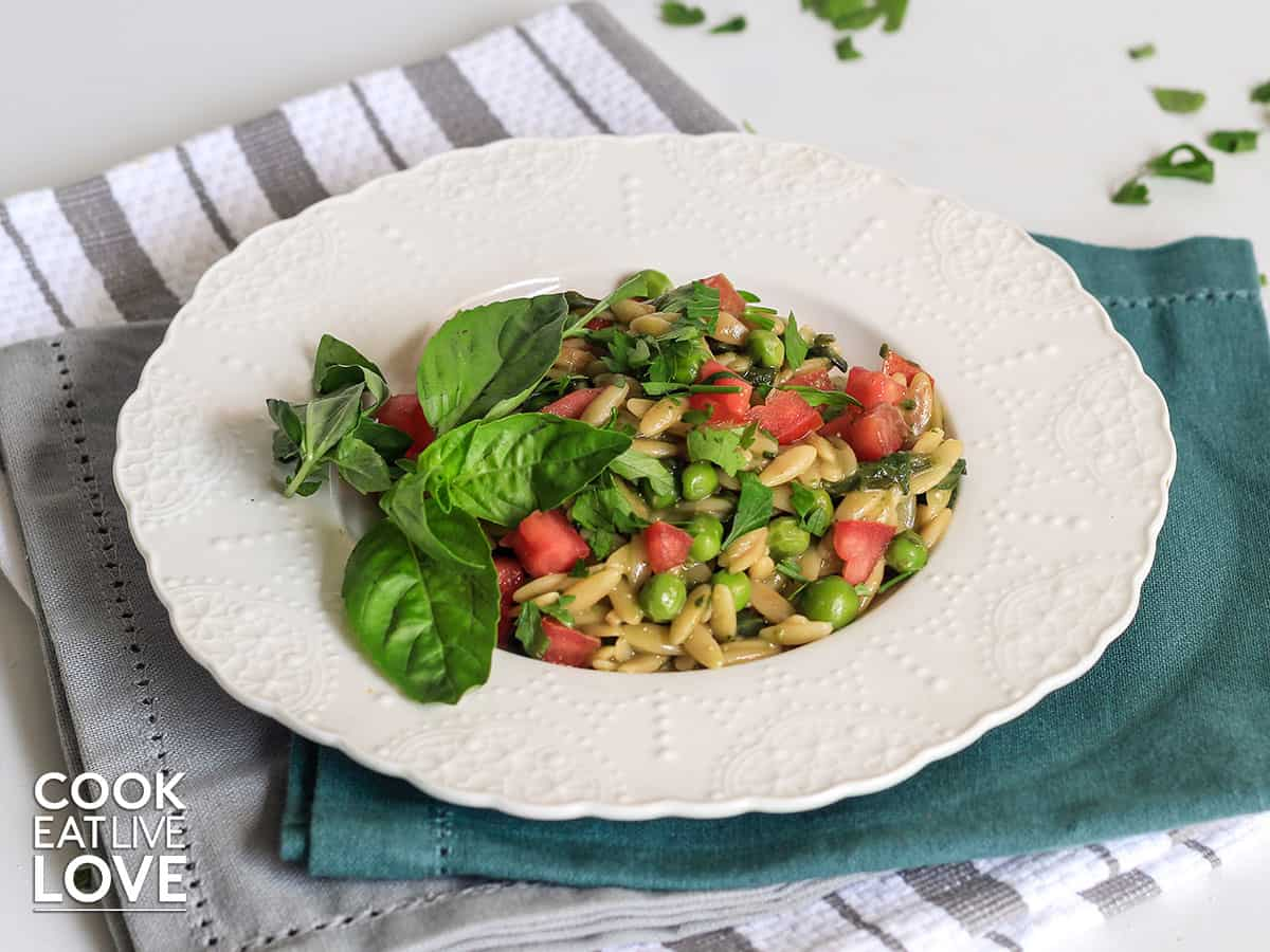 Pesto orzo served up on a plate