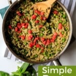 Pin for pinterest graphic with pesto orzo in skillet and text