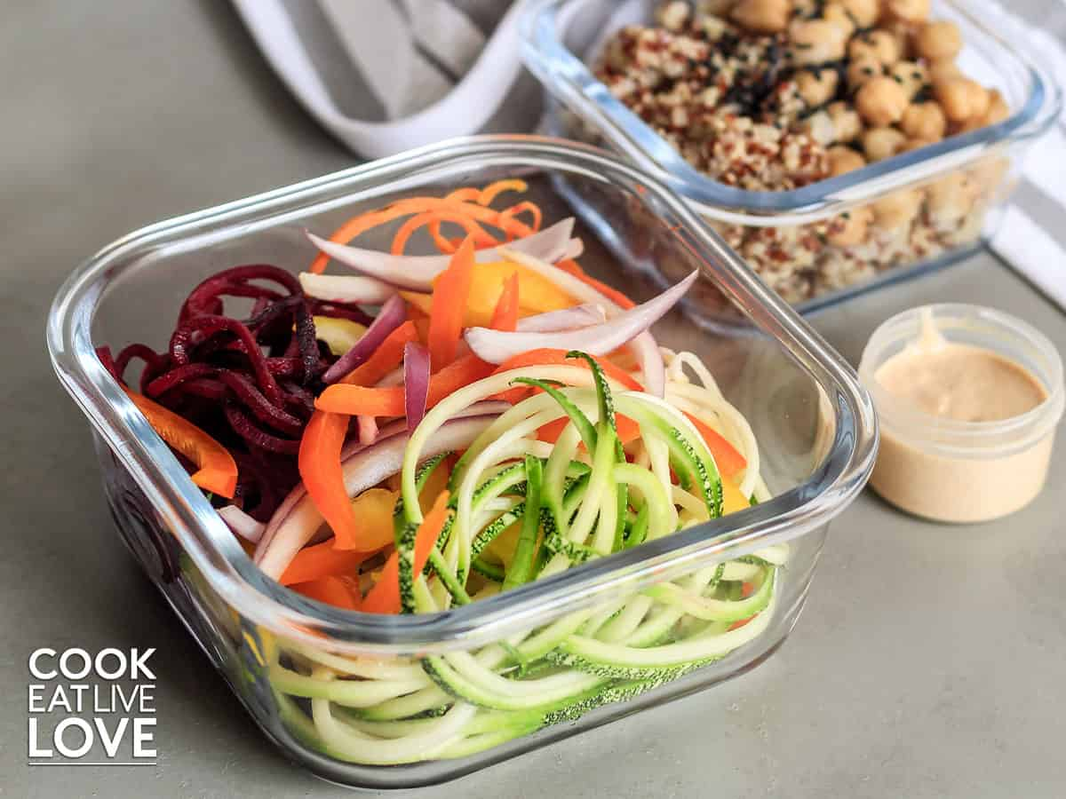 Veggie noodles are packed up in containers to take on the go