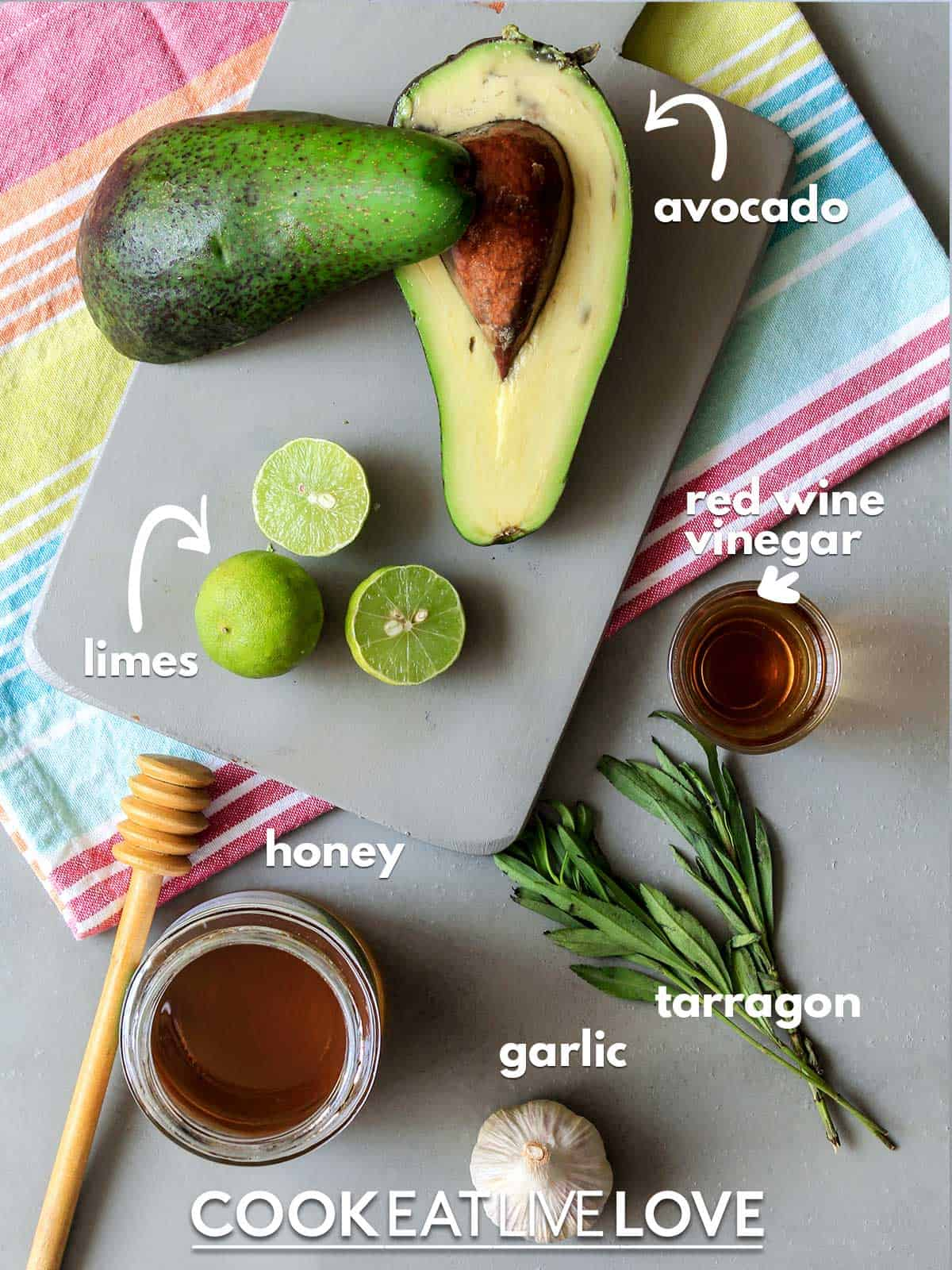 Ingredients to make salad dressing on the table with labels
