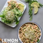 Pin for pinterest graphic with overhead of vegan chicken salad in a bowl