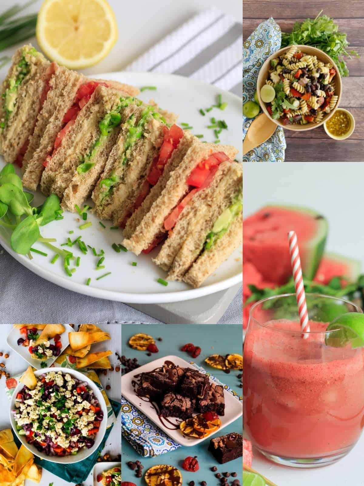 Collage of food to make for vegan picnic