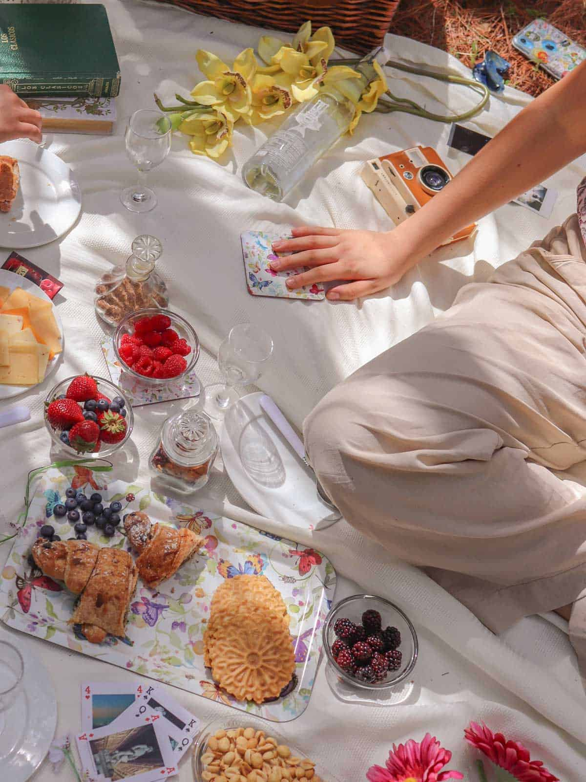 Picnic food spread out on a blanket with person sitting cross-legged