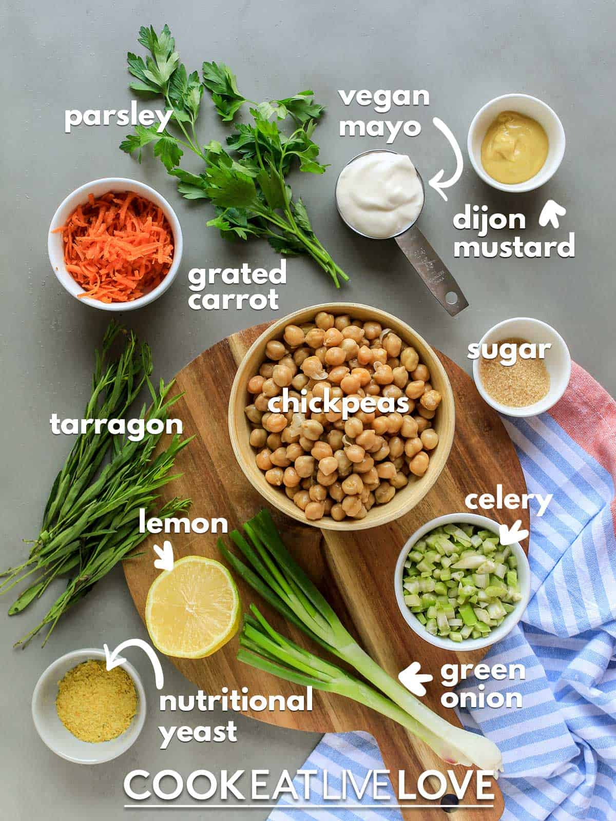 ingredients to make vegan chicken salad on the table with text labels