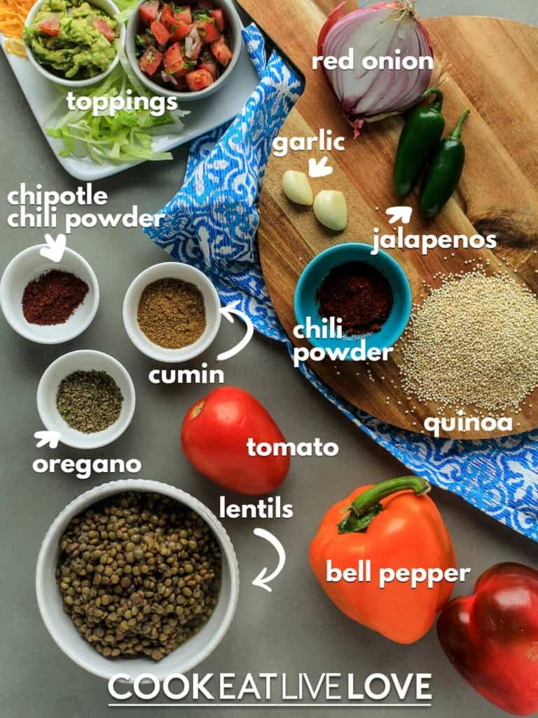 Ingredients to make vegetarian burrito bowls with text labels