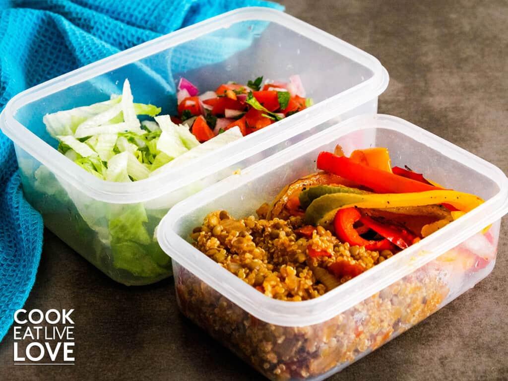 Vegetarian burrito bowl for meal prep