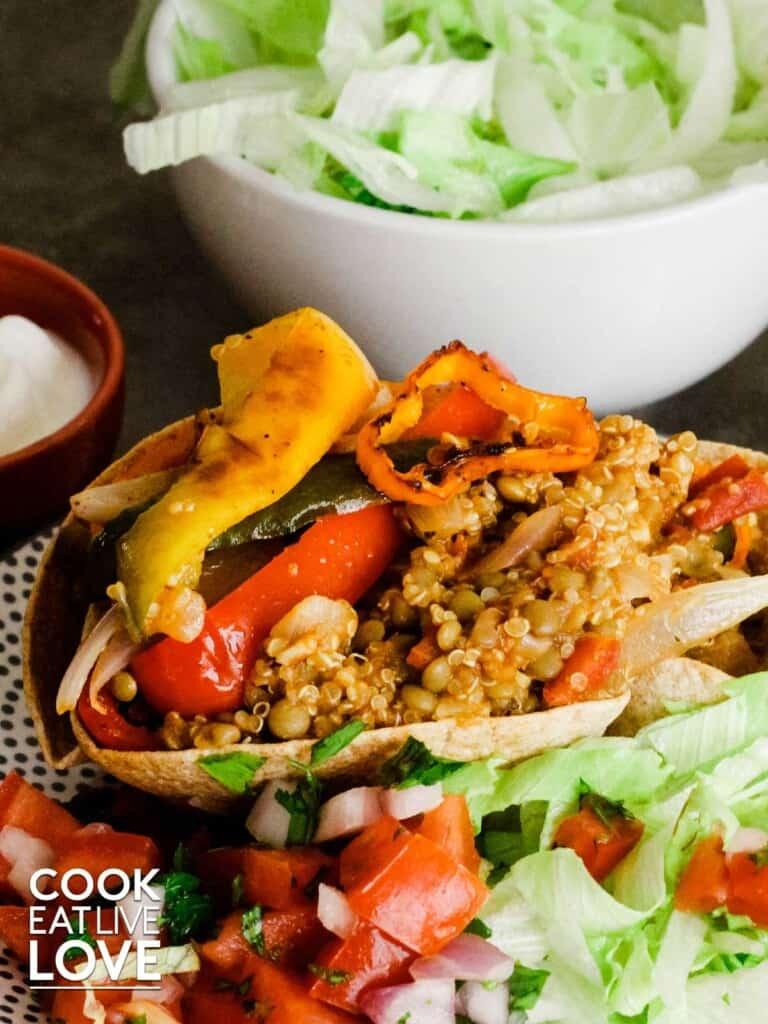 Vegetarian burrito bowl with pico del gallo