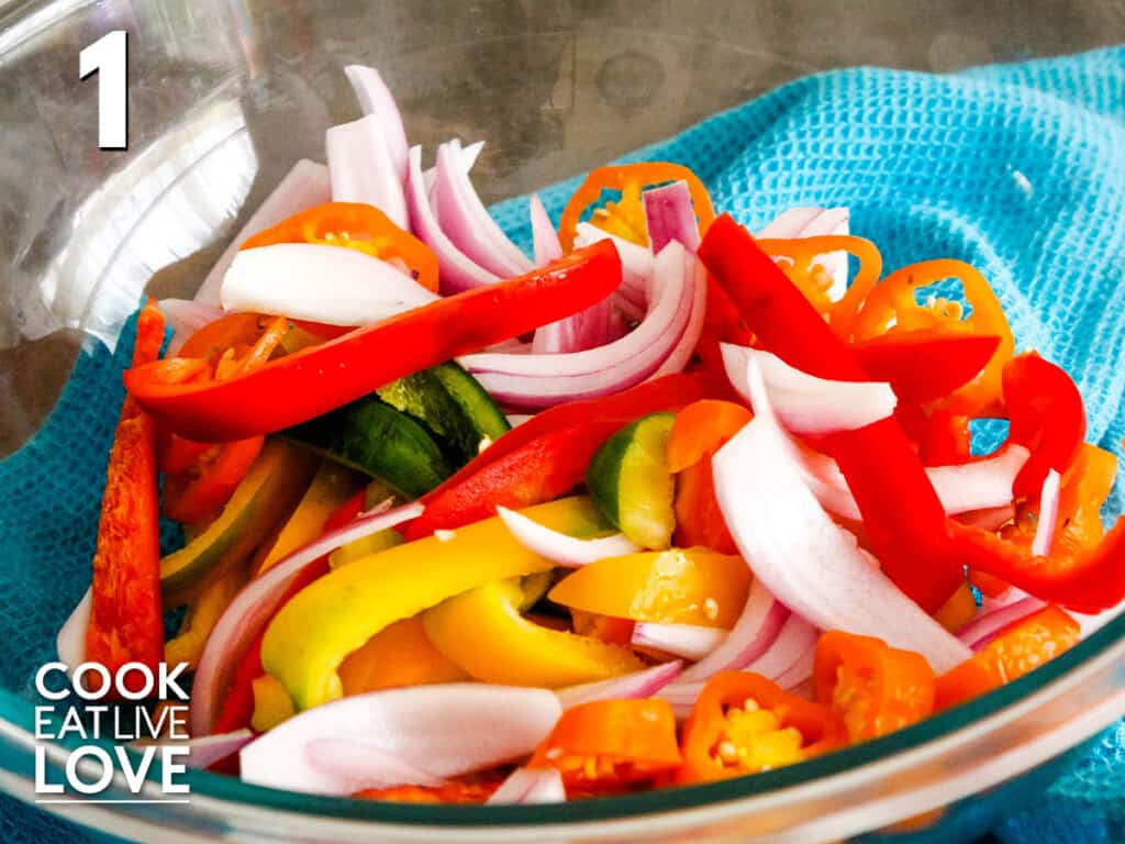 Bell pepper and onion in a bowl