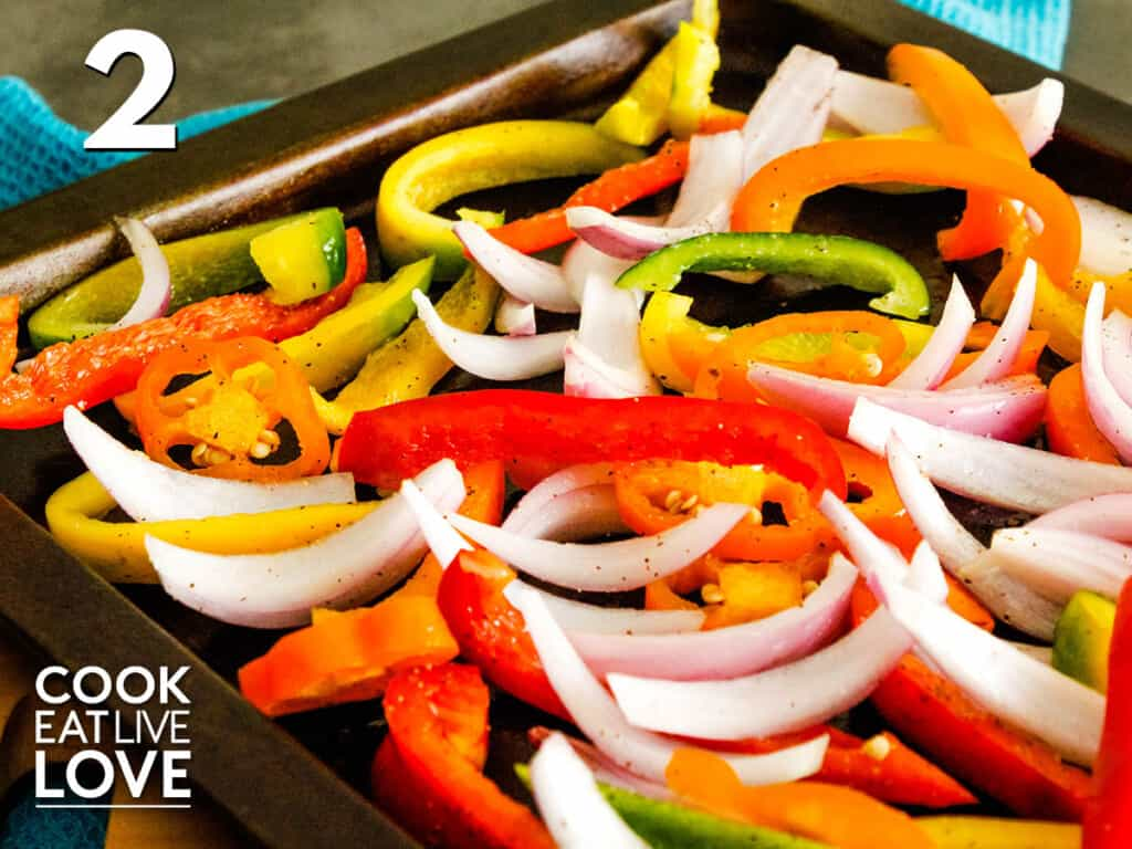 Mixed vegetables on a baking sheet